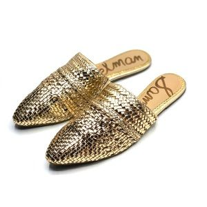 {Sam Edelman} Natalya Woven Leather Mules/Flats